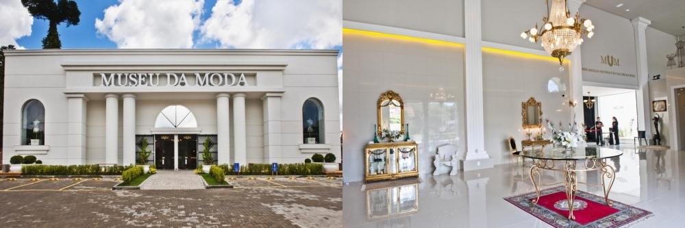 Fachada do Museu da Moda e Hall de entrada, em Canela/RS (imagens: divulgação)